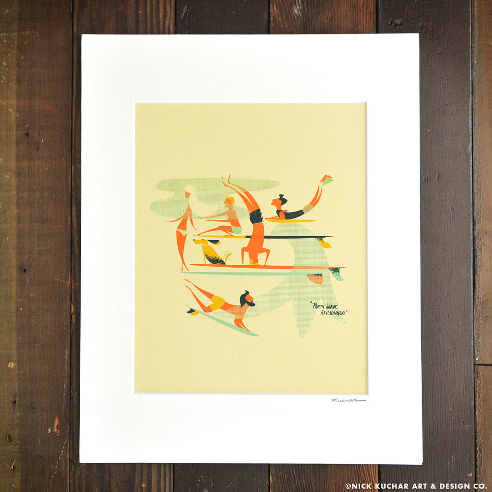 Party Wave Aficionado - Retro Hawaii Surf Matted Print