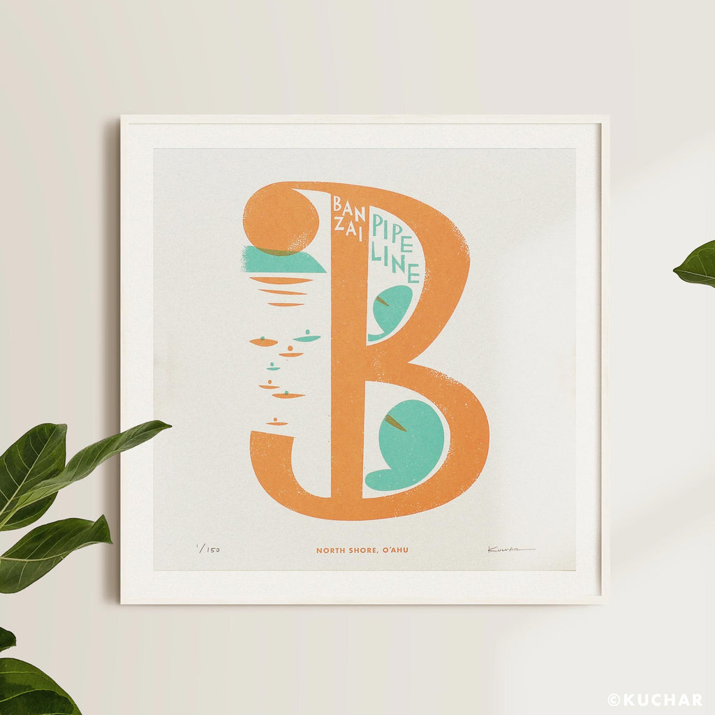 "Banzai Pipeline - ""B"" - 12x12 Limited Edition Screen Print"