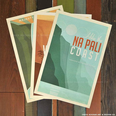 Kauai Hawaii Coast Retro Print Set