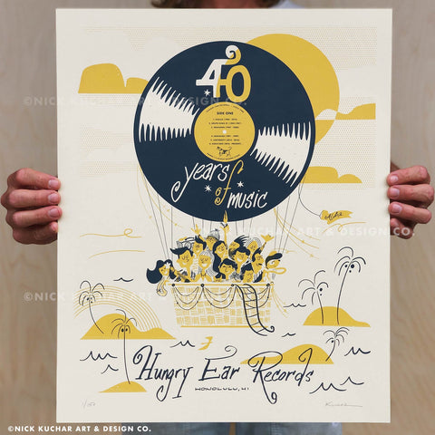 Hungry Ear Records x Nick Kuchar - 40th Anniversary Screen Print -16x20