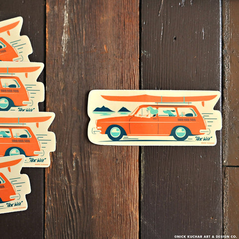 Hawaii retro surf art sticker mokuluas