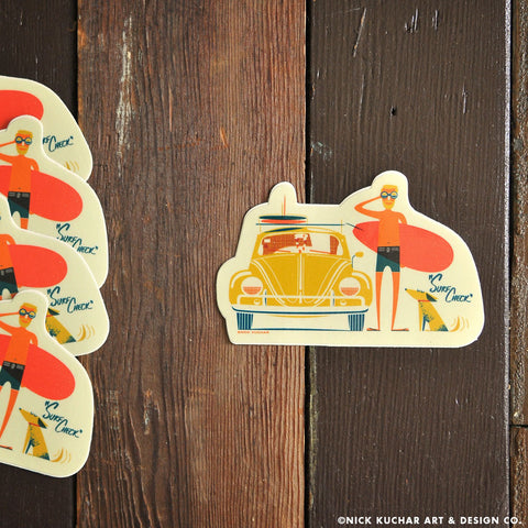 Hawaii retro surf art sticker Beetle