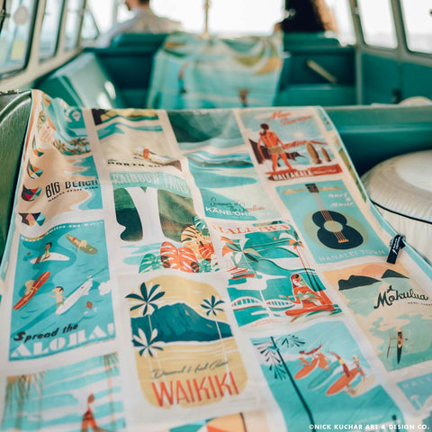 Surfer Towel -  Retro Hawaii Style Beach Towel