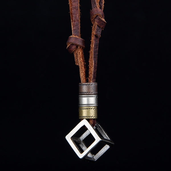 Leather Necklace with Stainless Box Pendant