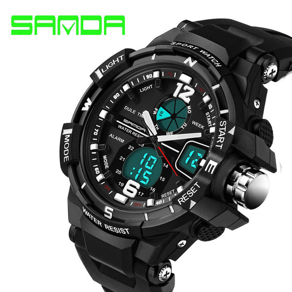 SANDA Waterproof Sports Military Quartz Analog - Digital Watch