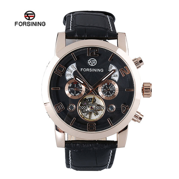 Genuine Leather Strap Automatic Mechanical Calendar Watch