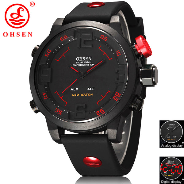 Quartz Digital Sports Dive Wristwatch - Rubber Band