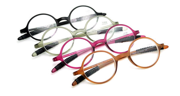 Italian Design Retro Round Flexible Frame Reading Glasses - +100 - +400