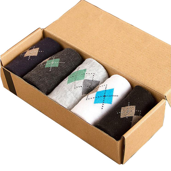 5 Pairs Cotton Polyester Argyle Sock
