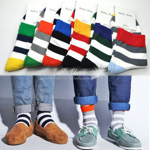 6 Pairs, and 5 Pairs of Cotton Stripe Socks