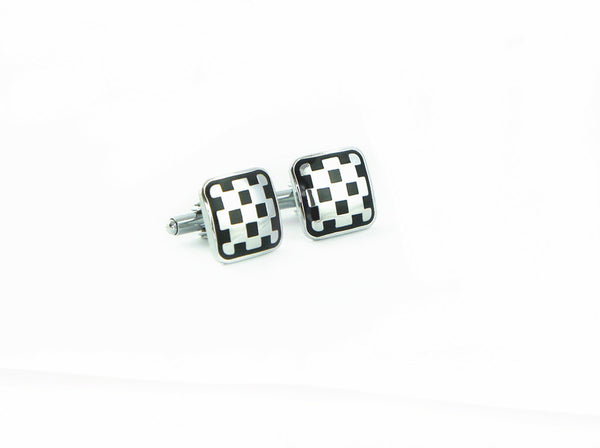 Black and Silver / Black and Gold Checkerboard Cuff Link
