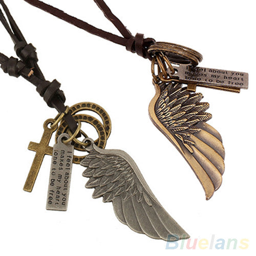 Angel Wing Leather Necklace Charm - 2 Finishes