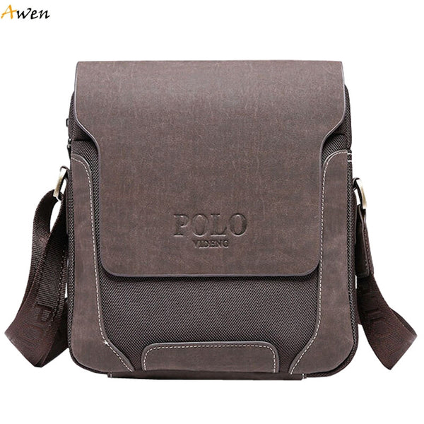 Frosted Leather Videng POLO Messenger Bag with Twill