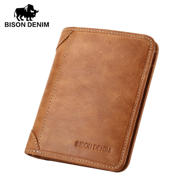 Bison Denim Foldover Wallet with Extra Card Slots - Horizontal or Vertical Design