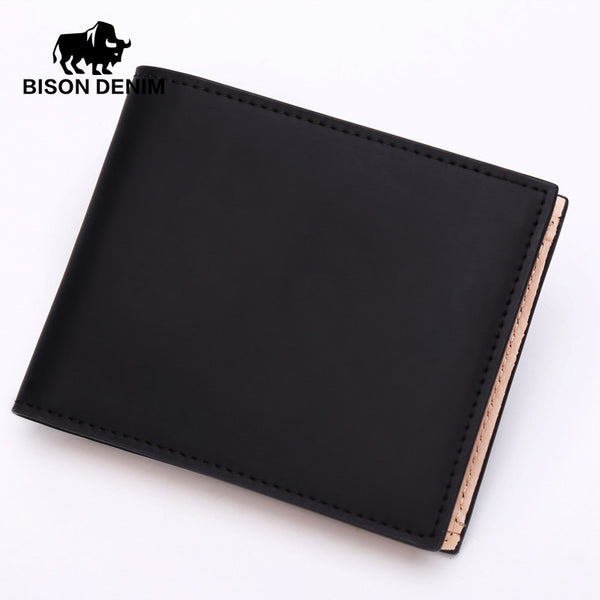 Bison Denim Foldover Black and Cream Nappa Leather Wallet