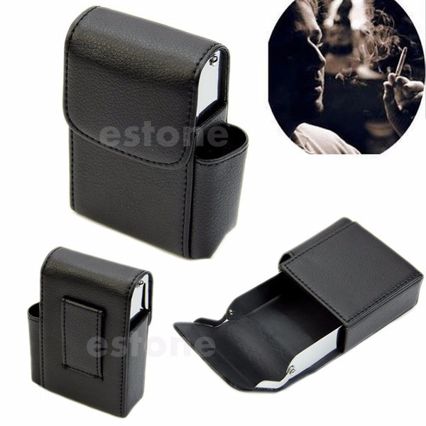 Hard Cigarette Case with Section For Lighter - 2 Colors