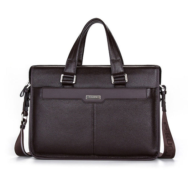 "P.Kuone 15.5"" Leather Laptop Briefcase"