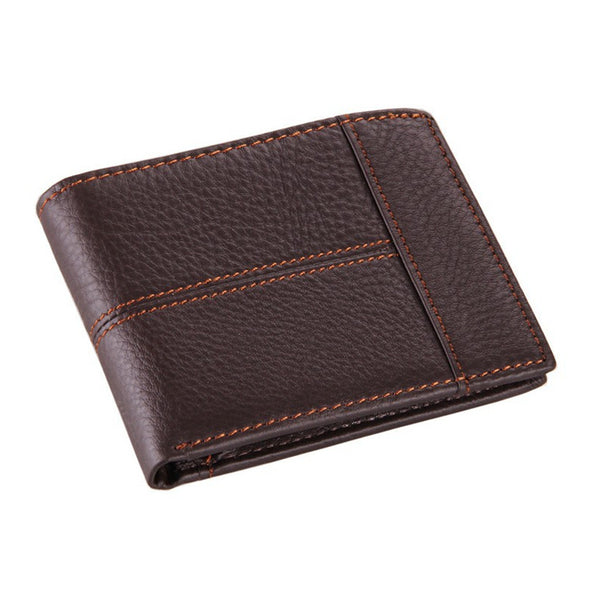Foldover Stitched Leather Wallet