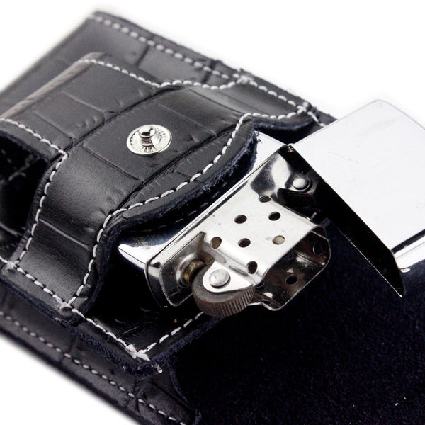 Crocodile Pattern Leather Cigarette Case With Lighter Holder Attaches to Belt - 2 Colors