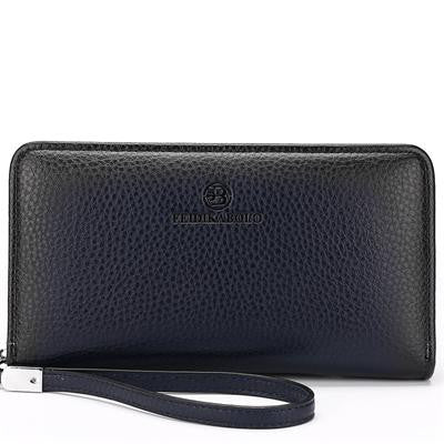 Double Zipper Famous Brand Pebbled Leather Clutch Wallet