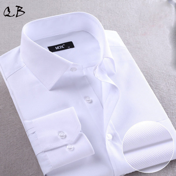 Long Sleeve Regular Fit Solid Color Business Shirt - S - 4XL