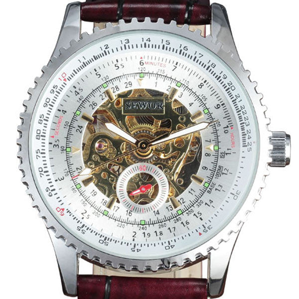 Skeleton Mechanical Watch - Leather Band