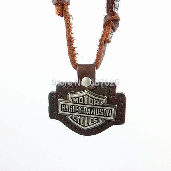 Leather Harley Alloy Pendant Necklace