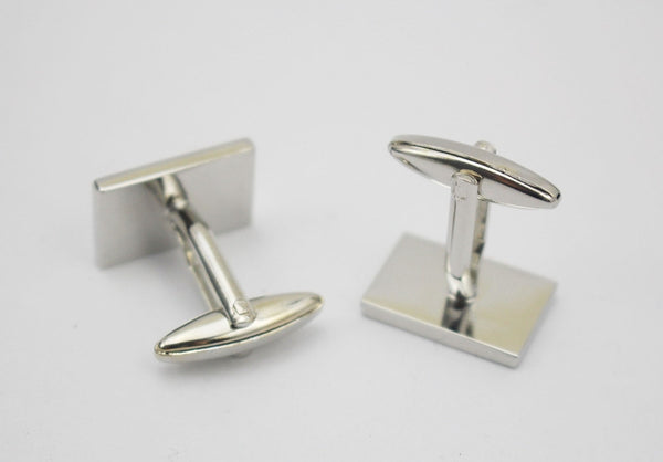 Two Tone Silver and Black Enamel Cuff Links