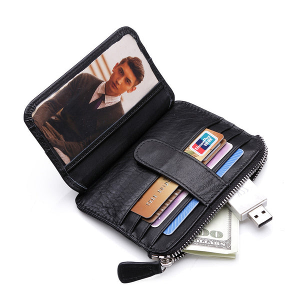 Black Leather Wallet Credit Card Holder