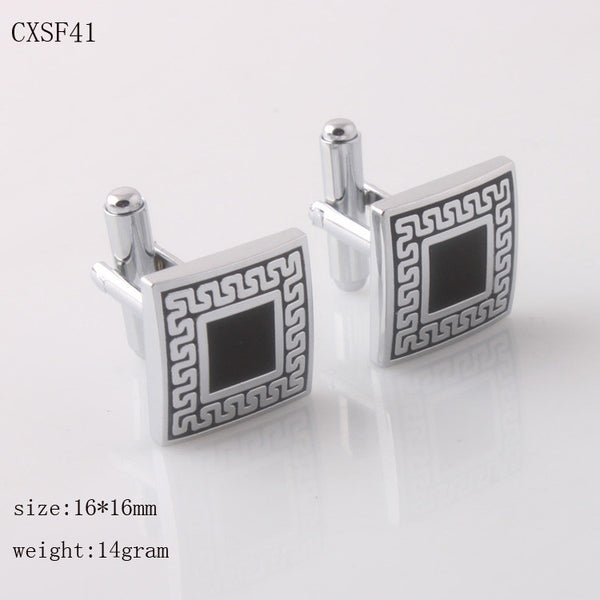 Silver Color Cuff Links with Black Enamel Square Shape