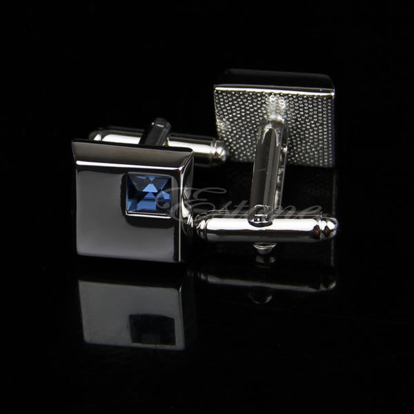 Blue Crystal in Stainless Square Cuff LInk