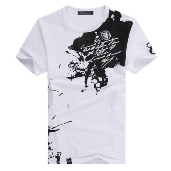 Ink Splotch Slim Fit Short-Sleeve Cotton T-shirt - 5 Colors - M - XXL