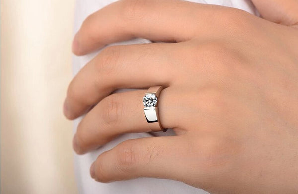 Man's Engagement Ring 18K White Gold Plated CZ Diamond