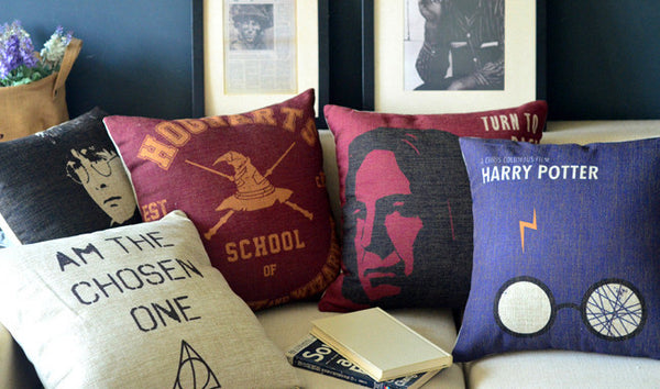 Graphic Renditions of Harry Potter Images and Sayings On Throw Pillow Covers