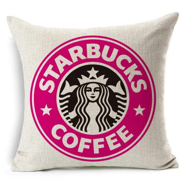 Starbucks Coffee Linen Throw Pillow Cover