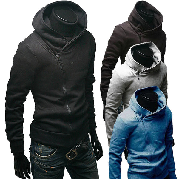 Off-Center Zippered Hoodie - M - XXL