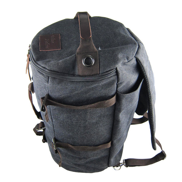 Backpack or Hand-Carry Canvas Duffel with Zipper Compartments