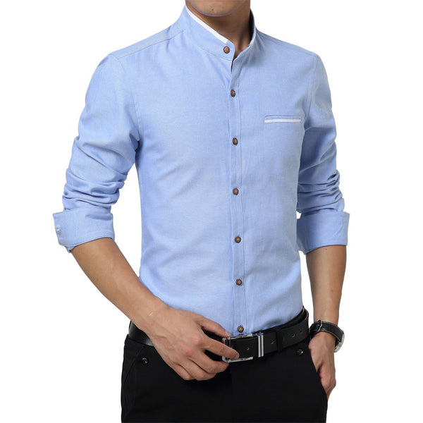 Slim Fit Stand Collar Shirt