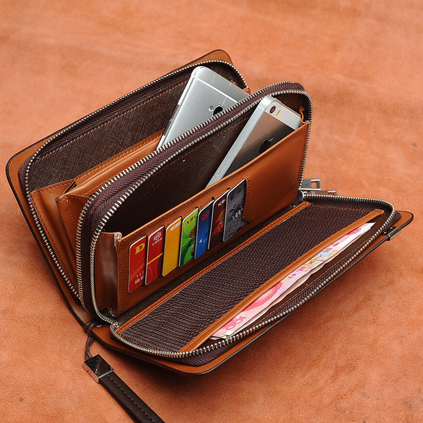 1 - 2  Zipper Men's Clutch Leather Wallet