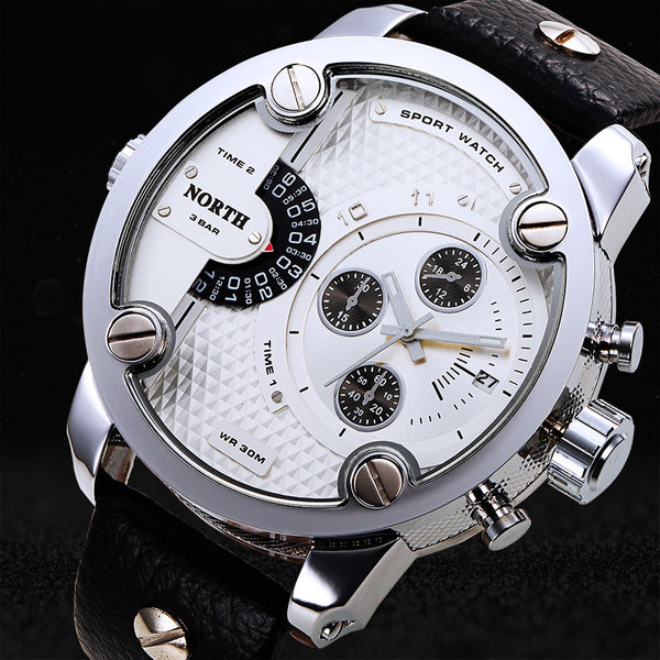 Stainless Steel - Genuine Leather Band - 30 Meters Waterproof - Quartz Wristwatch