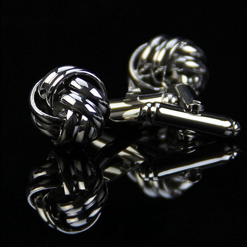 Mandarin Knot Cuff Links in Silver or Gold Plate