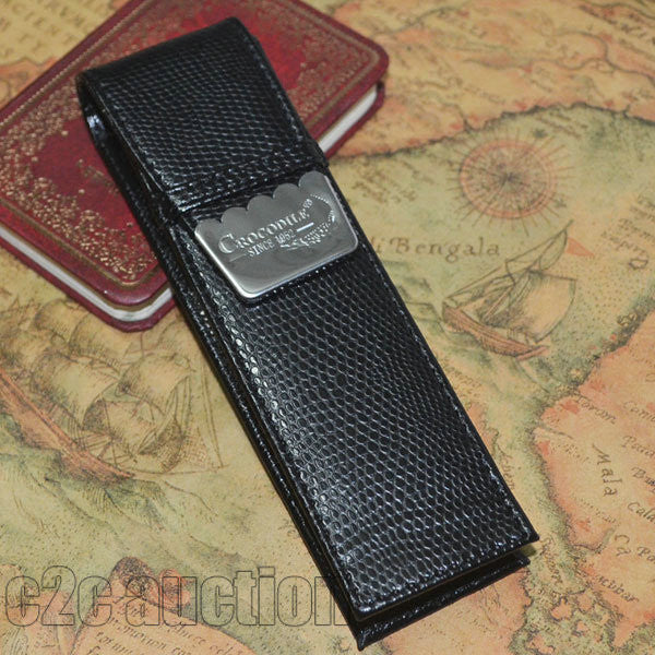 Crocodile Embossed PU Leather Double Pen Case