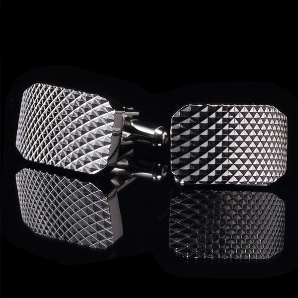 Silver Grating Cuff Link
