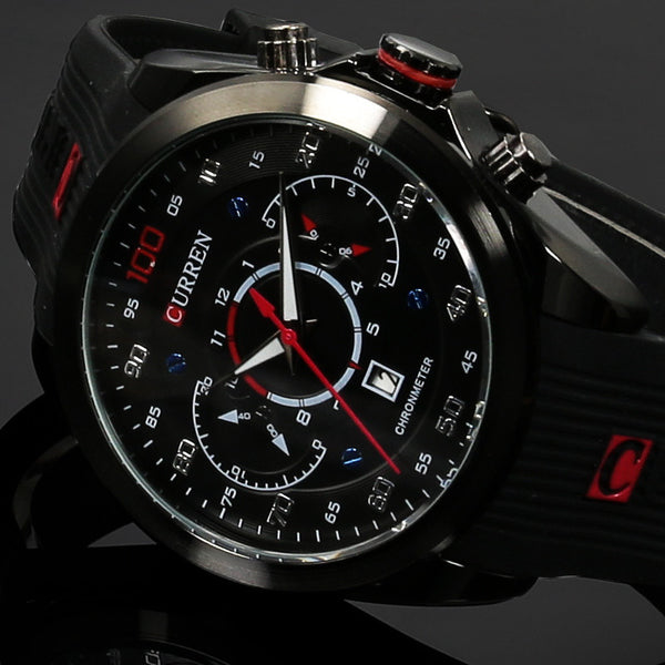 Rubber Band Quartz Casual Watch- Calendar - Date - 30M Waterproof
