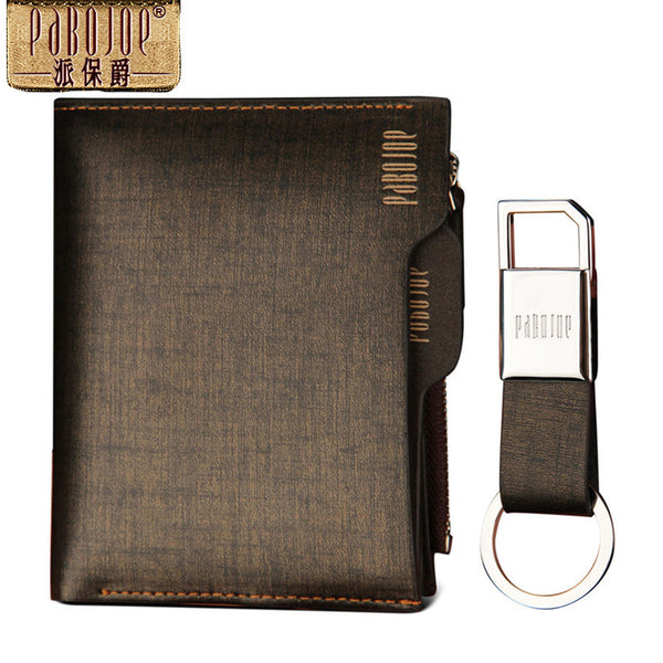 Vertical or Horizontal Gold Brushed Leather Wallet and Key Ring