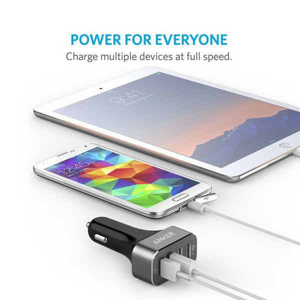 Original Anker Mobile Car Charger 2.4A 5V 9.6A 48W 4 usb Ports 18 Months Warranty Universal for iPad All Phone