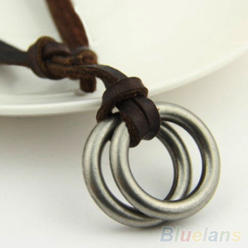 Circle Pendant Brown Leather Necklace