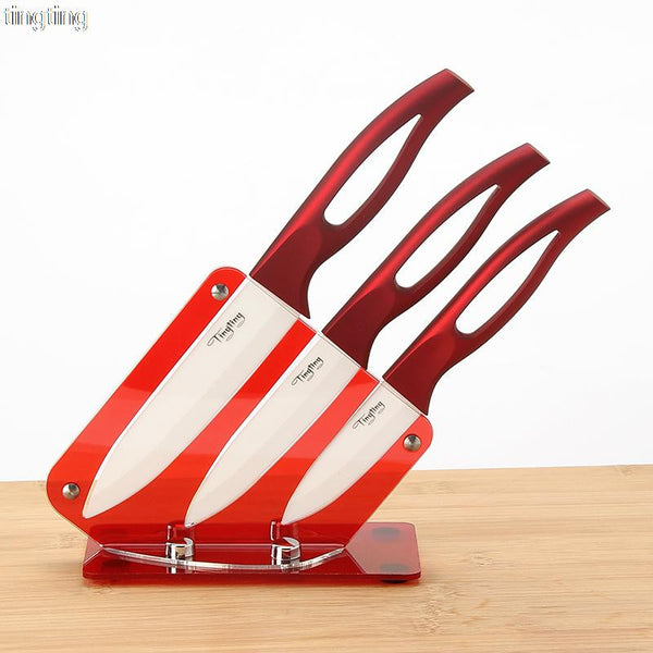 "Ceramic Knife Set 3 ""4"" 5 ""- Acrylic Stand - Red"