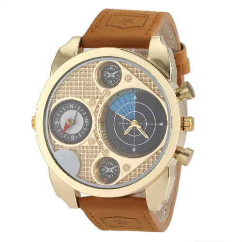 High Quality Brown Leather Quartz Watch