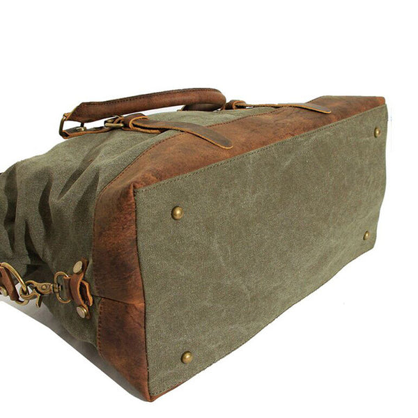 Vintage Military Canvas Crazy Horse Travel Overnighter